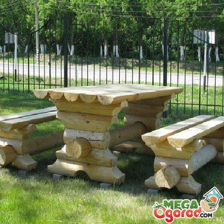 Сложные скамейки из бревна своими руками